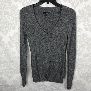 ❤️ 3/$20 Express Gray Marled Knit V Neck Sweater